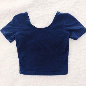 Navy Blue American Apparel Crop Top